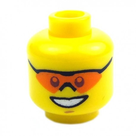 Yellow Minifig, Head Male, Orange Sunglasses, 19