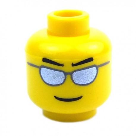 Lego Accessoires Minifig - Tête masculine jaune, lunettes, 20 (La Petite Brique)