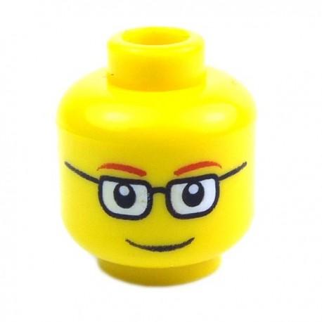 Lego Accessoires Minifig - Tête masculine jaune, lunettes, 21 (La Petite Brique)