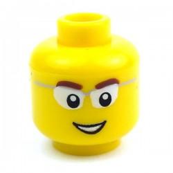 Yellow Minifig, Head Male, Glasses, 18