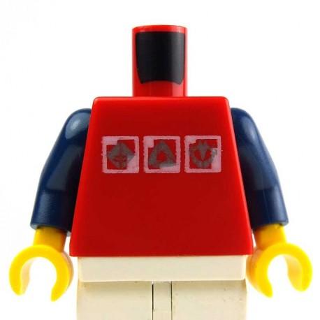 Lego Accessoires Minifig - Torse - Rouge avec logos argentés, bras bleus foncés (La Petite Brique)