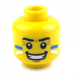 Yellow Minifig, Head Face Paint with Blue and White Painted Cheeks and Grin