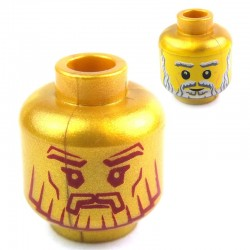 Pearl Gold Minifig, Head Dual Sided Beard with Stylized Face / Realistic Face