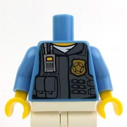 Lego Accessoires Minifig Torse - Police (Medium Blue) avec gilet (Dark Bluish Gray) (La Petite Brique)