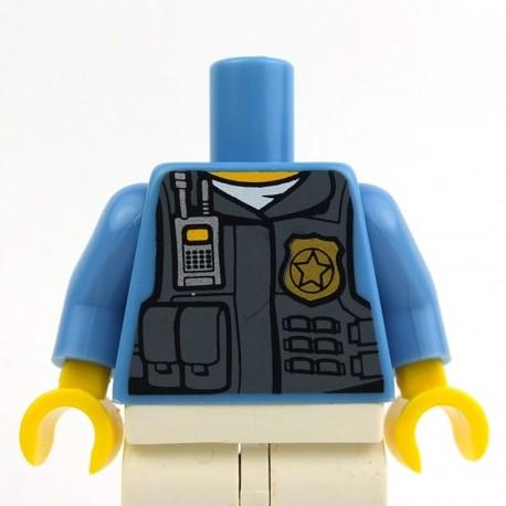 Medium Blue Torso Police Shirt with DBG Vest, Radio, White Undershirt