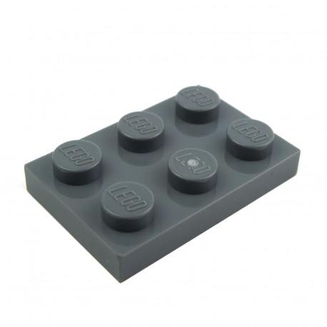Lego Pièces Détachées Plaque 2x3 (Dark Bluish Gray)