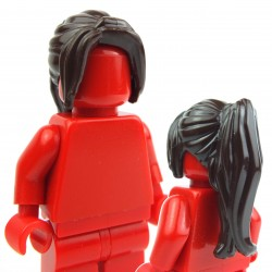 Dark Brown Minifig, Headgear Hair Female Ponytail Long with Side Bangs