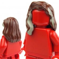 Lego Accessoires Minifig - Cheveux mi-long avec mêche beige (reddish brown) (La Petite Brique)