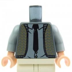 Lego Accessoires Minifig - Torse - Gilet (Dark Bluish Gray), cravate noire (La Petite Brique)