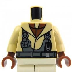Lego Accessoires Minifig - Torse - veste avec harnais (Tan) (La Petite Brique)
