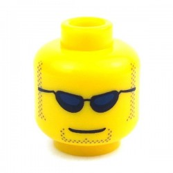 Yellow Minifig, Head with Sunglasses, Closed Mouth, Light Brown Sideburns and Goatee