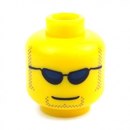 LEGO® Minifig, Head Glasses with Black and Silver Sunglasses, Chin Yellow