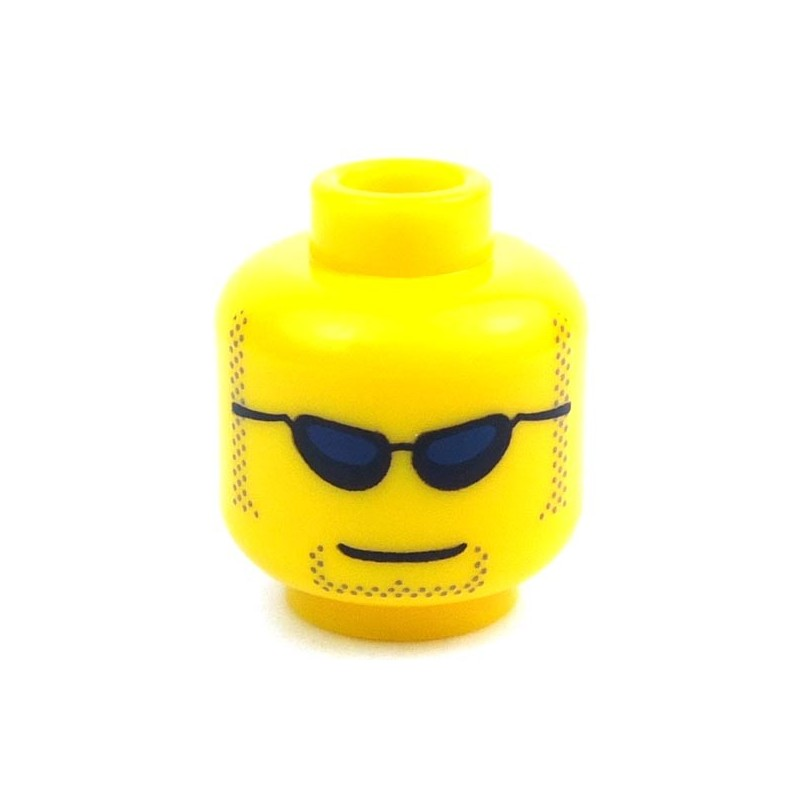 Lego Yellow Minifig Head Black Thick Eyebrows Reddish Brown Crow/'s Feet