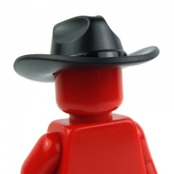 Black Minifig, Headgear Hat, Very Wide Brim, Outback Style (Fedora)