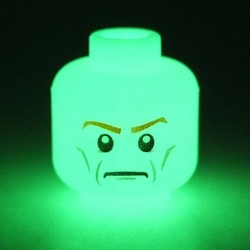 Glow in Dark White Minifig, Head Dual Sided