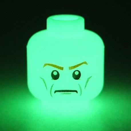 Lego Accessoires Minifig Tête blanche Phosphorescente (Blanche - Double Visage) (La Petite Brique)