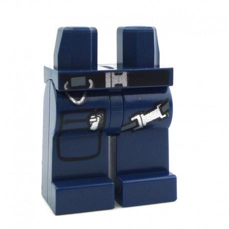 Lego Accessoires Minifig Jambes avec holster et poche (Dark Blue) (La Petite Brique)