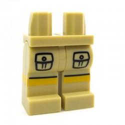 Lego Accessoires Minifig Capuche Jambes - beige avec poches et bandes jaunes, ligne noire (La Petite Brique)