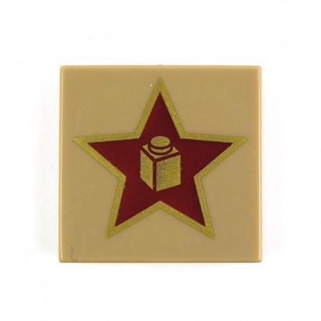 Lego Accessoires Minifig Gold Star with Brick in Center - Tile 2 x 2 (La Petite Brique)