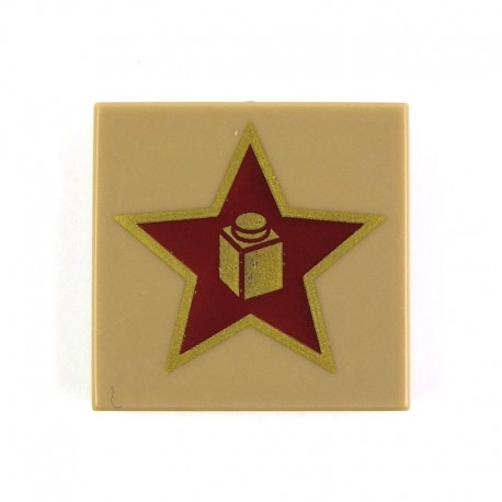 Dark Tan Tile 2 x 2 with Gold Star with Brick in Center