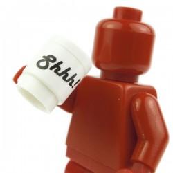 Lego Accessoires Minifig Tasse, Mug 'Shhh!' (blanc) (La Petite Brique)