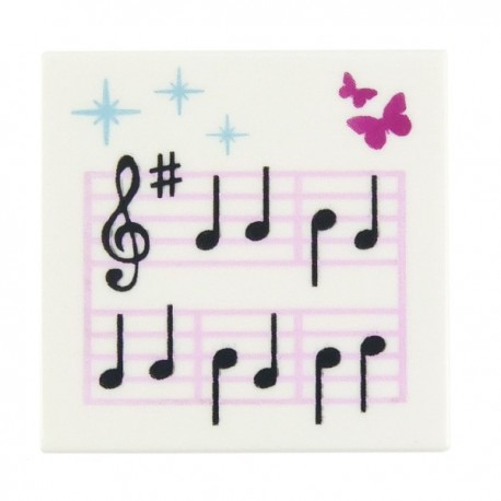 Tile 2 x 2 with Music Notes and Butterflies