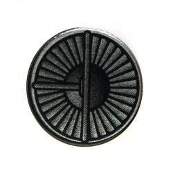 Black Tile, Round 2 x 2 with Silver Dense Fan