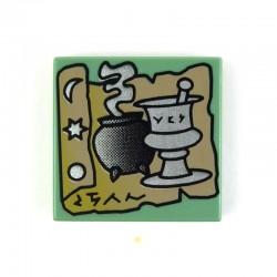 Lego Accessoires Minifig Parchemin et Potions (Harry Potter) - Tile 2 x 2 (Sand Green) (La Petite Brique)