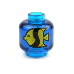 Trans-Dark Blue Minifig, Head with Yellow and Black Fish