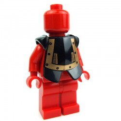 Black Minifig, Armor Breastplate with Leg Protection, Karzon Copper Studs, Chain Mail