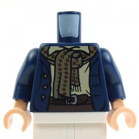 Dark Blue Torso Coat 3 Buttons and Dark Tan Scarf (Pippin)