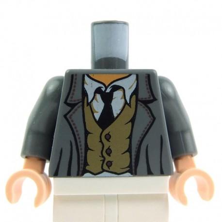 Lego Accessoires Minifig Torse - Veste avec gilet froissé et cravate (Dark Bluish Gray) (La Petite Brique)