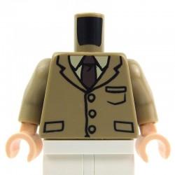 Lego Accessoires Minifig Torse - Veston 3 boutons avec cravate et poches (Dark Tan) (La Petite Brique)
