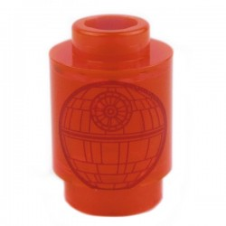Trans-Neon Orange Brick, Round 1 x 1 Open Stud with Death Star (Star Wars)