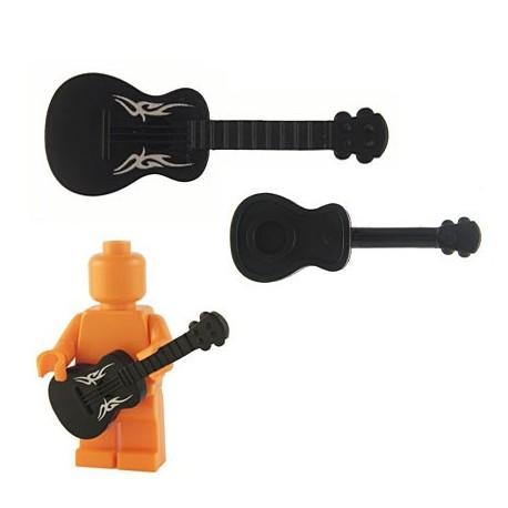 Lego Custom Accessoires Minifig BRICKFORGE Guitare accoustique (Noir) (silver Tribal) (La Petite Brique)