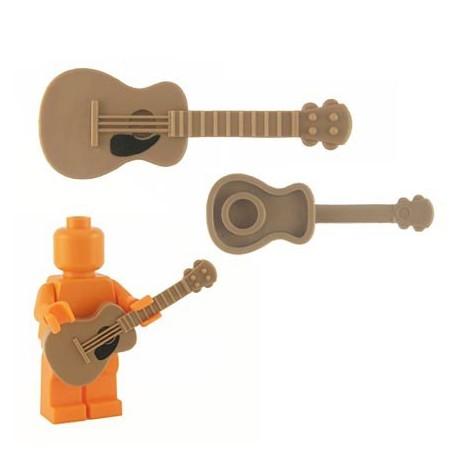 Lego Custom Accessoires Minifig BRICKFORGE Guitare accoustique (Dark Tan - black pickguard) (La Petite Brique)