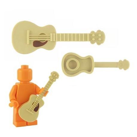 Lego Custom Accessoires Minifig BRICKFORGE Guitare accoustique (Tan - brown pickguard) (La Petite Brique)