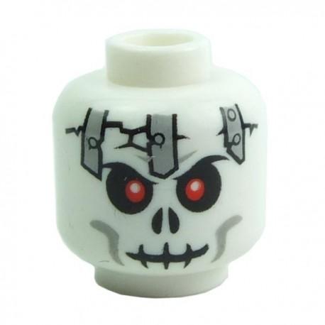 Lego Accessoires Minifig - Tête squelette crâne fendu avec plaques métalliques (La Petite Brique)