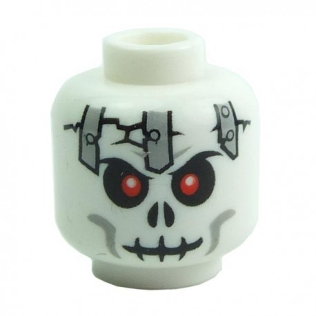 White Minifig, Head Skull Cracked with Metal Plates