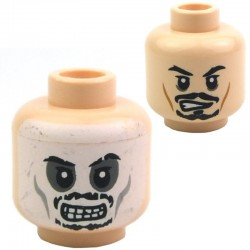 Light Flesh Minifig, Head Dual Sided Black Moustache Determined / Skull Face