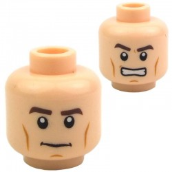 Light Flesh Minifig, Head Dual Sided Thick Brown Eyebrows and Cheek Lines, Determined / Angry