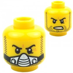 Yellow Minifig, Head Dual Sided Beard Stubble, Determined / Breathing Apparatus