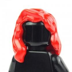 Lego Accessoires Minifig - Cheveux mi-long qui retombe sur l'épaule droite (Rouge) (La Petite Brique)