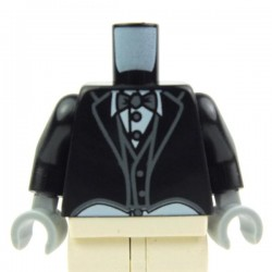 Black Torso Tailcoat and Vest Formal, White Shirt and Gray Bow Tie, Black Arms, Light Bluish Gray Hands
