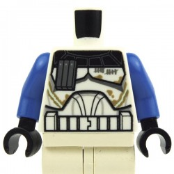 White Torso SW Armor Capitan Rex, Dirt Stains (Clone Wars), Blue Arms, Black Hands
