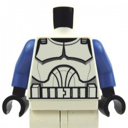 White Torso SW Armor Clone Trooper (Clone Wars), Blue Arms, Black Hands