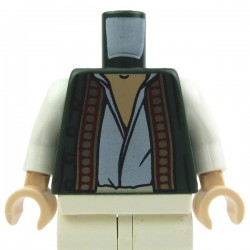 Dark Green Torso Vest with Dark Red and Gold Trim over White Shirt, White Arms, Light Flesh Hands