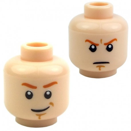 Light Flesh Minifig, Head Dual Sided Dark Orange Eyebrows, Determined / Smiling