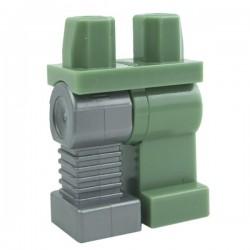 Lego Accessoires Minifig Jambes - jambe droite cybernétique (Sand Green - Flat Silver) (La Petite Brique)