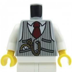 Light Bluish Gray Torso Pinstriped Vest, Red Tie and Pocket Watch